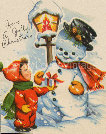 Vintage boy and Snowman
