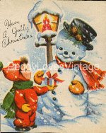 Vintage Snowman with boy image