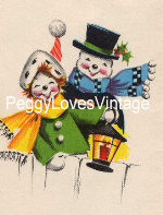 Vintage Snowman and Lady image